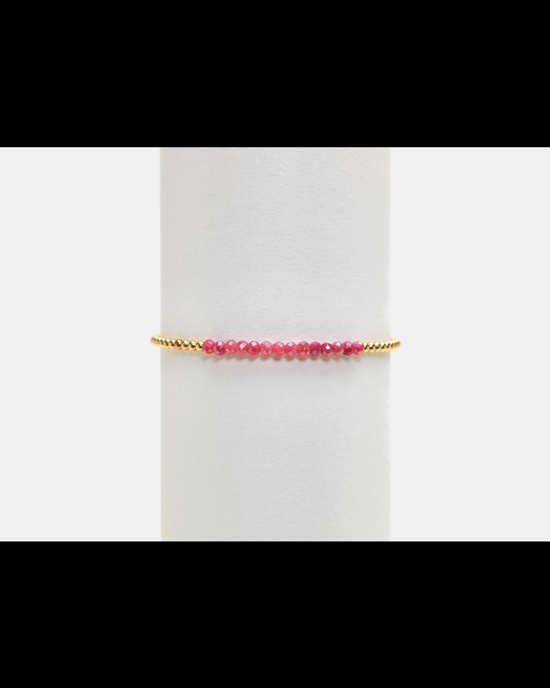 Karen Lazar 2mm Yellow Gold Bracelet with Pink Moonstone