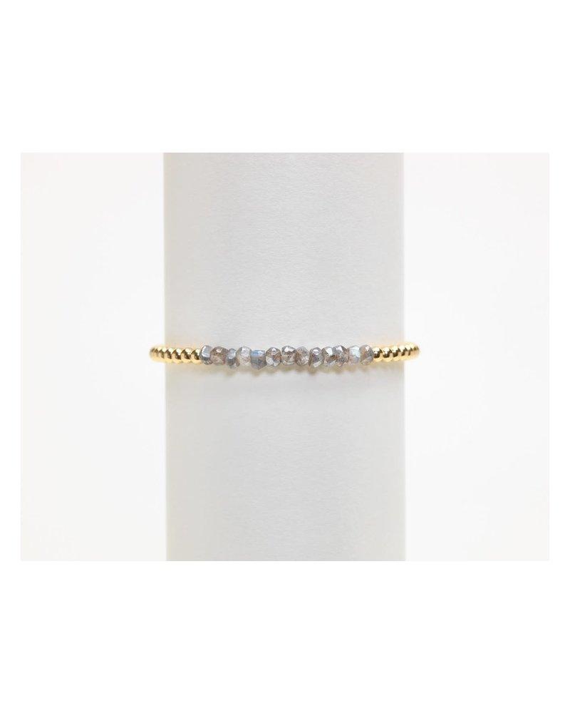 Karen Lazar 3mm Yellow Gold Bracelet with Labradorite