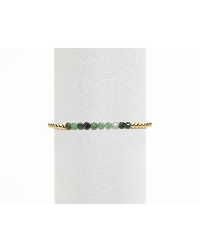 Karen Lazar 3mm Yellow Gold Bracelet with Mixed Emerald
