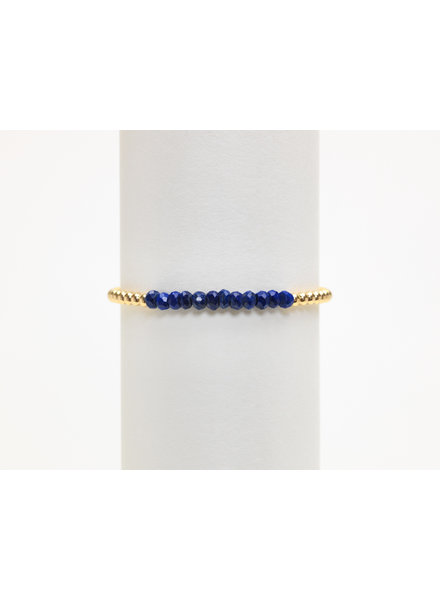Karen Lazar 3mm Yellow Gold Bracelet with Lapis