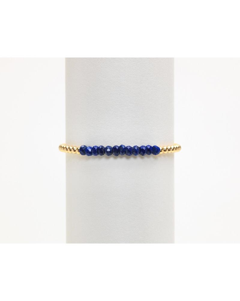 Karen Lazar 3mm Yellow Gold Bracelet with Lapis
