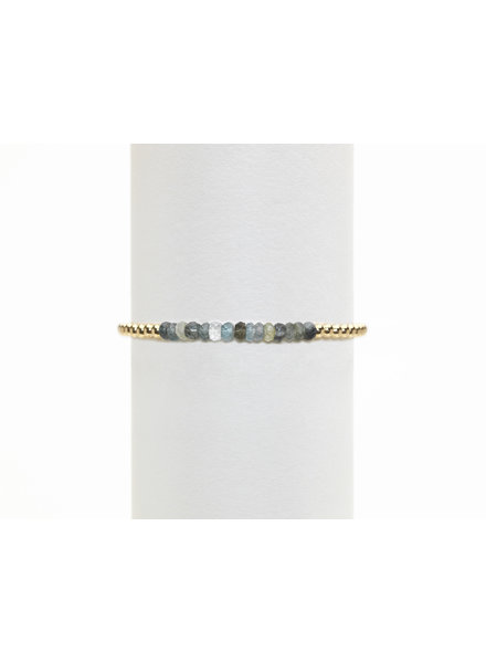 Karen Lazar 3mm Yellow Gold Bracelet with Moss Aqua