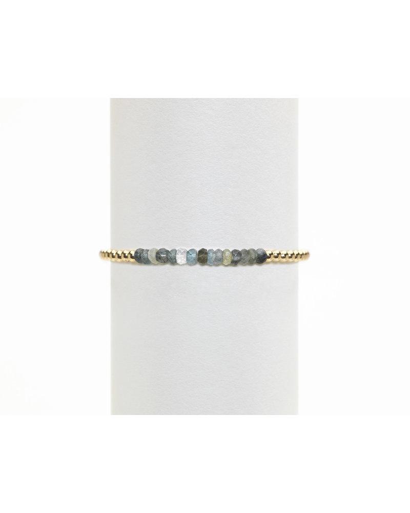 Karen Lazar 3mm Yellow Gold Bracelet with Moss Aqua