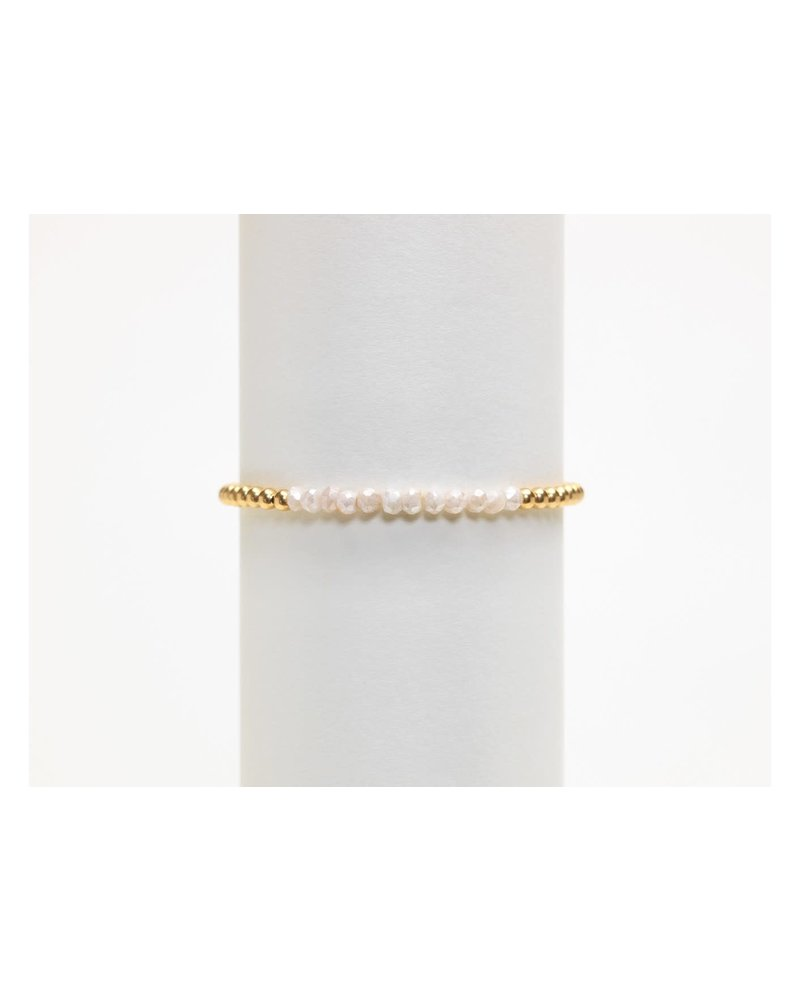 Karen Lazar 3mm Yellow Gold Bracelet with Milky Agate