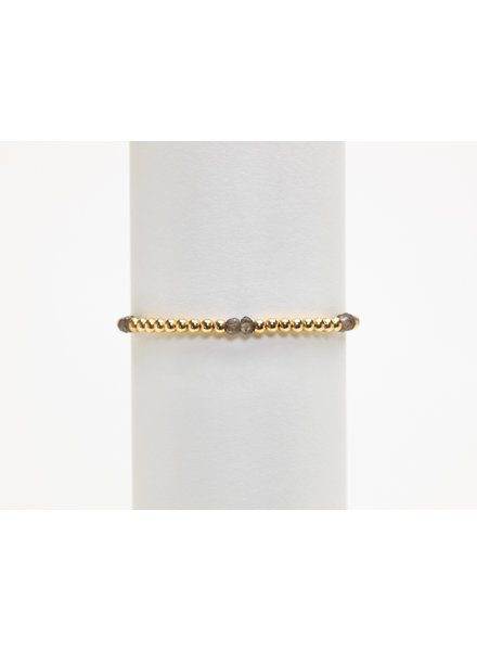 Karen Lazar 3mm Yellow Gold Bracelet with Smoky Topaz Pattern