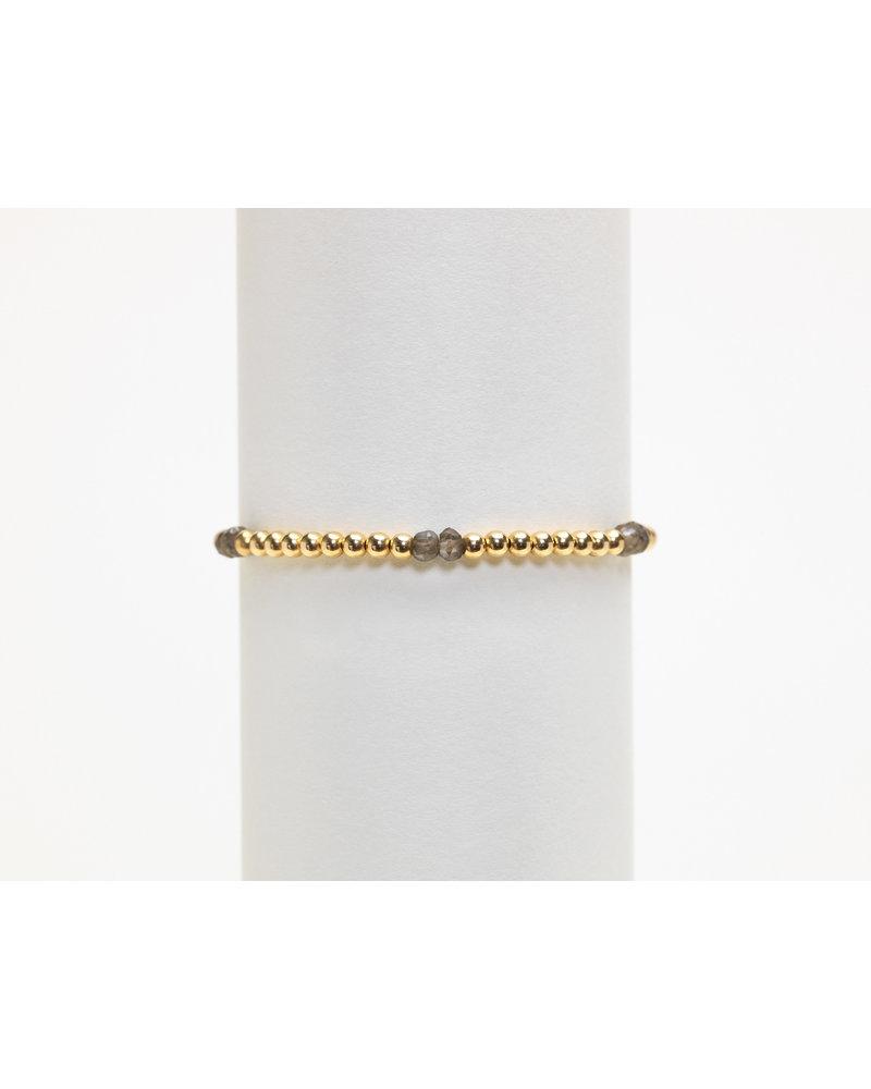 Karen Lazar 3mm Yellow Gold Bracelet with Smoky Topaz Pattern