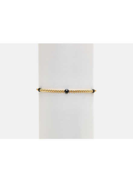 Karen Lazar 2mm Yellow Gold Bracelet with Spinel Disc Pattern