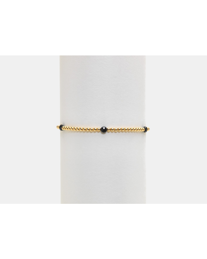 Karen Lazar 2mm Yellow Gold Bracelet with Spinel Disc Pattern