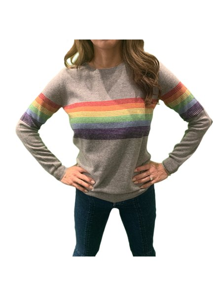 Madeleine Thompson Humbert Jumper Grey w/ Rainbow F19