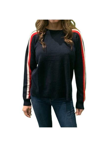 Madeleine Thompson Bruno Jumper Navy w/ Red & White F19