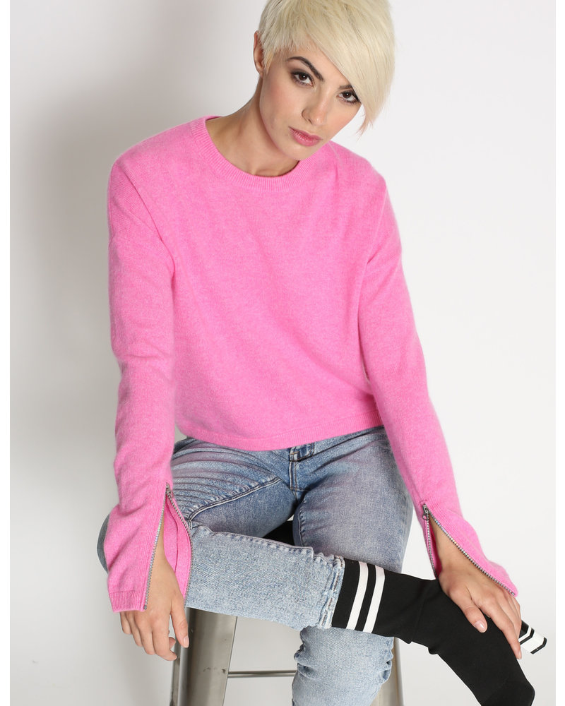 Threads of Privilege Cashmere L/S Crew Holographic Zipper Pink H19