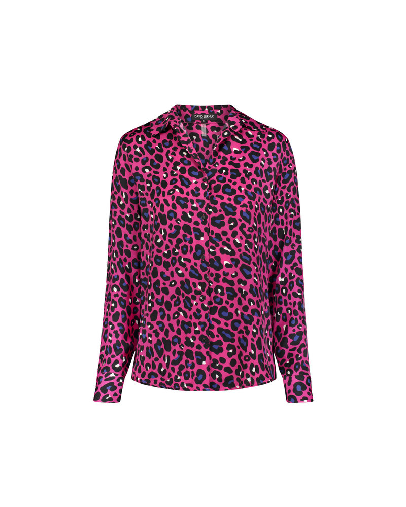 David Lerner Portman Button Down Shirt Fuschia/Royal Leopard H19