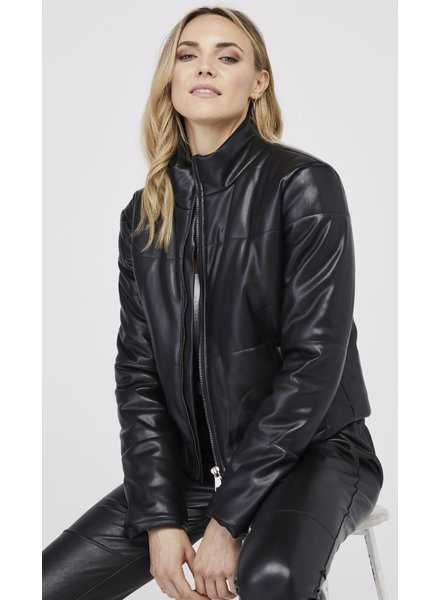 David Lerner Bella Vegan Crop Puffer Black H19