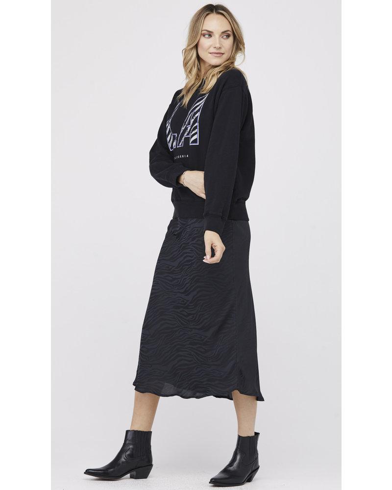 David Lerner Naomi Bias Midi Skirt Black Zebra Jacquard H19