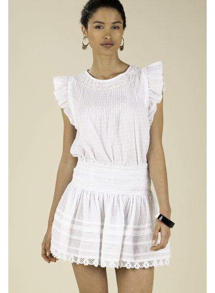 POUPETTE ST BARTH Mini Skirt Galia Smocked White R20