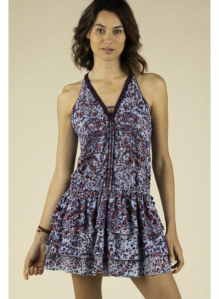 POUPETTE ST BARTH Mini Dress Bety Ruffled Light Blue Paisley R20