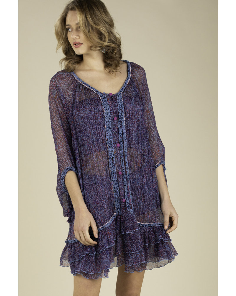 POUPETTE ST BARTH Dress Poncho Bety Ruffled Blue Wild R20