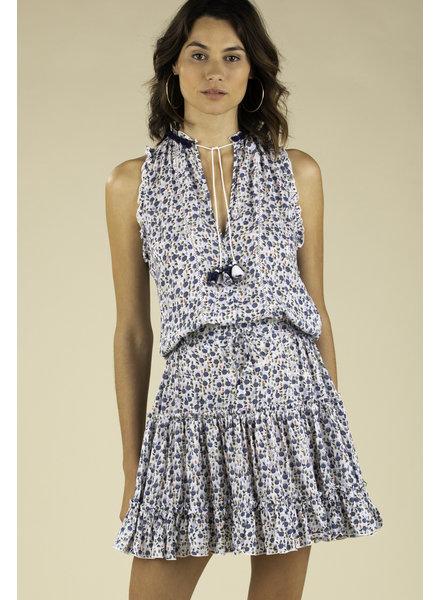 POUPETTE ST BARTH Mini Dress Clara Ruffled White Blue Bell R20