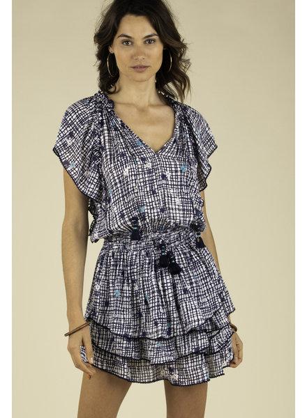 POUPETTE ST BARTH Mini Dress Elsa Layered Blue Maze R20
