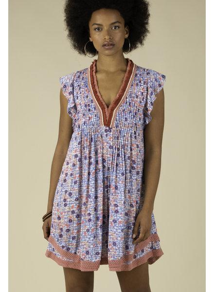POUPETTE ST BARTH Mini Dress Sasha Lace Trimmed Blue Boom R20