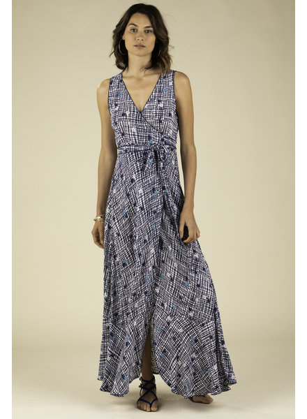 POUPETTE ST BARTH Long Dress Bonnie Layered V Blue Maze R20