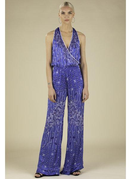 POUPETTE ST BARTH Long Jumpsuit Jena Sleeveless Blue Pineapple Batik Rombo R20