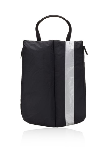 Hi Love Travel Shoe Tote/Wine Carrier Padded - Black with Single Metallic Line