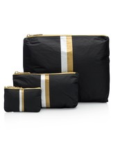 Hi Love Travel Black HLT Collection with Double Metallic Lines - 3 Set