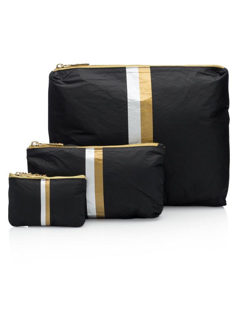 Hi Love Travel Black HLT Collection with Double Metallic Lines - 3 Set
