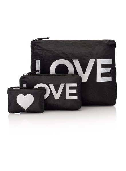Hi Love Travel Shimmer Black with Silver LOVE - 3 Set