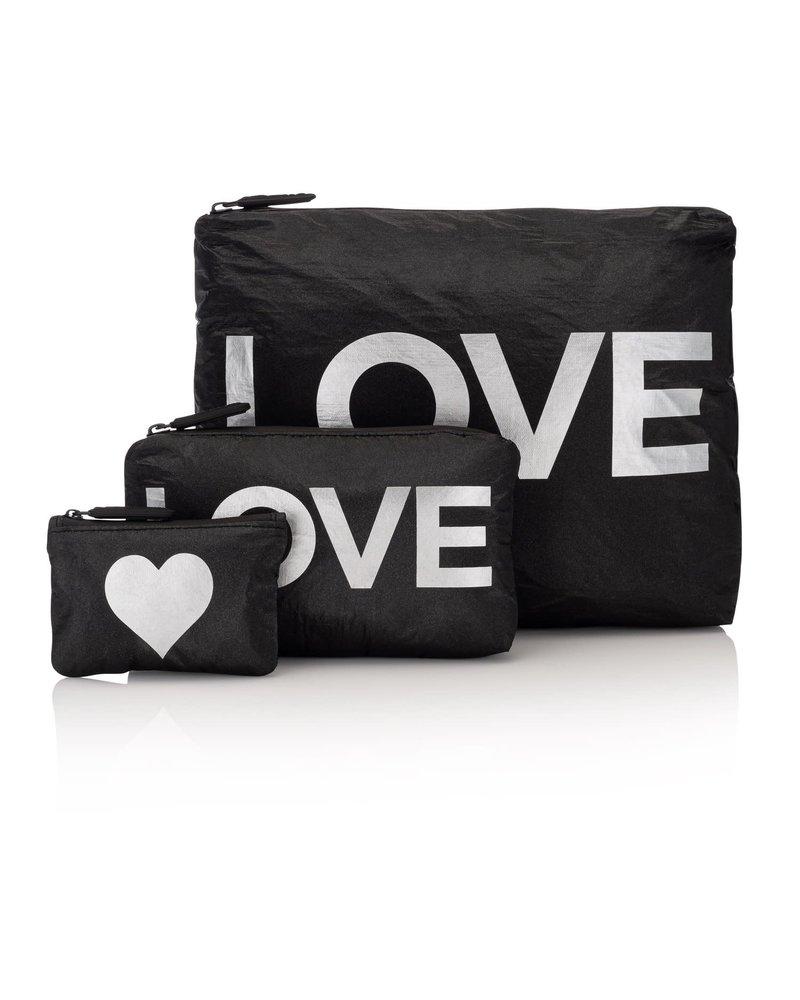 Hi Love Travel Shimmer Black with Silver LOVE - 3 Set