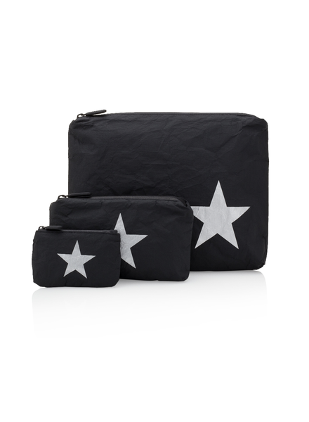 Hi Love Travel Black HLT Collection with Silver Star - 3 Set