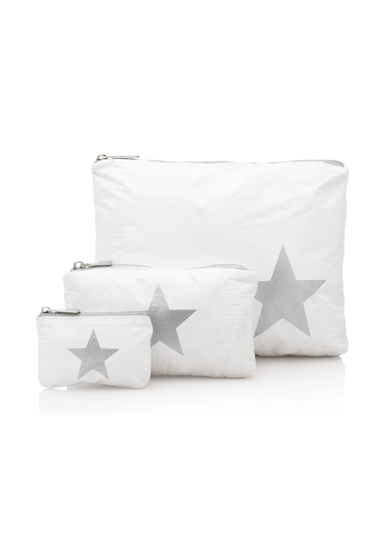 Hi Love Travel White with Metallic Silver Star - 3 Set