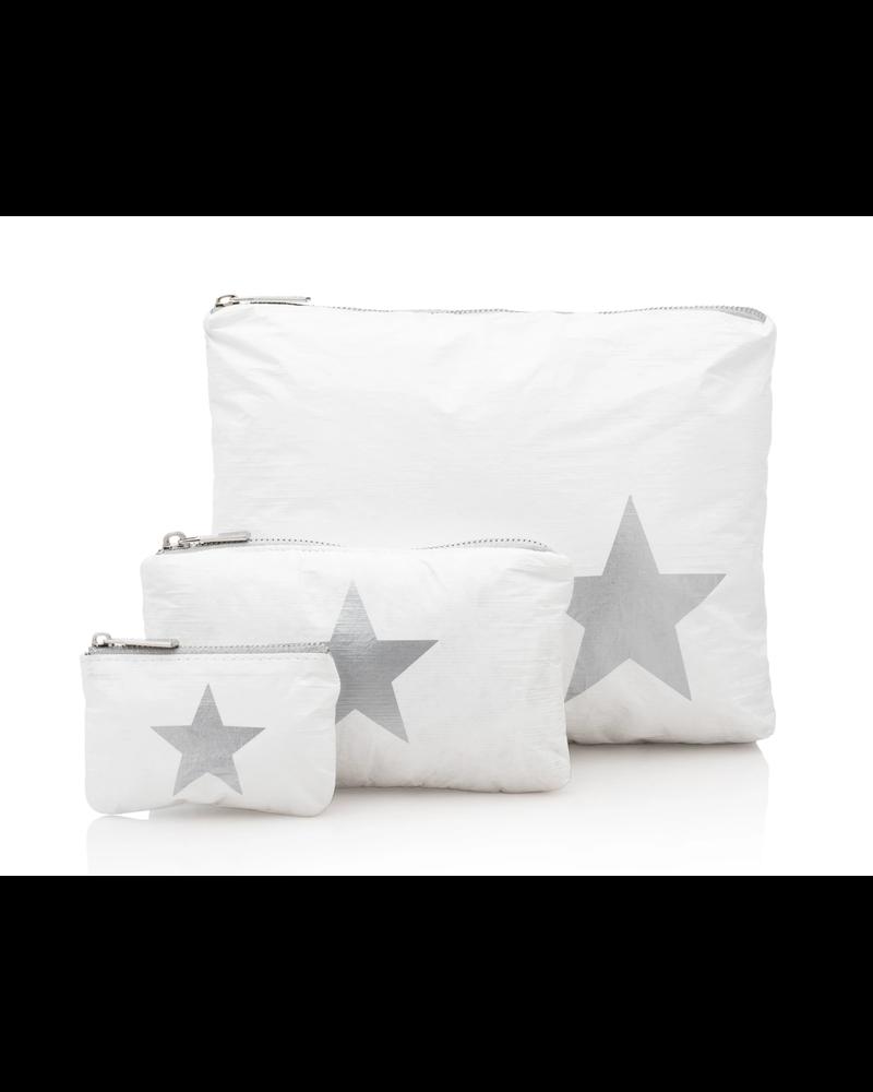 Hi Love Travel White with Metallic Silver Star - 3 Set