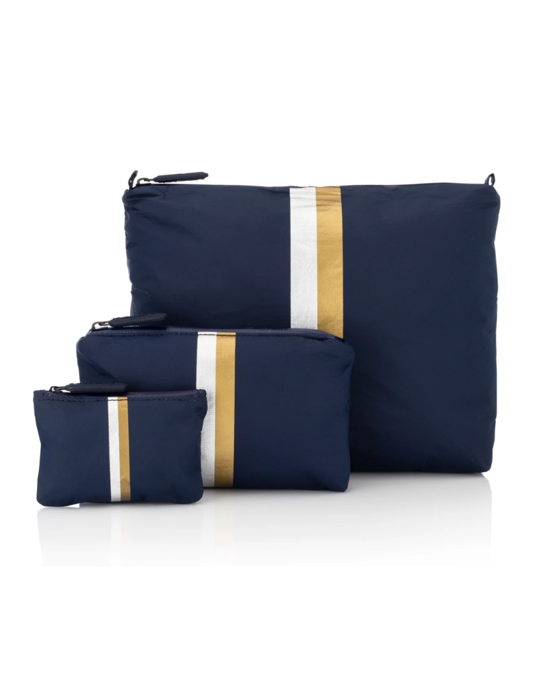 Hi Love Travel Navy HLT Collection with Double Metallic Lines - 3 Set