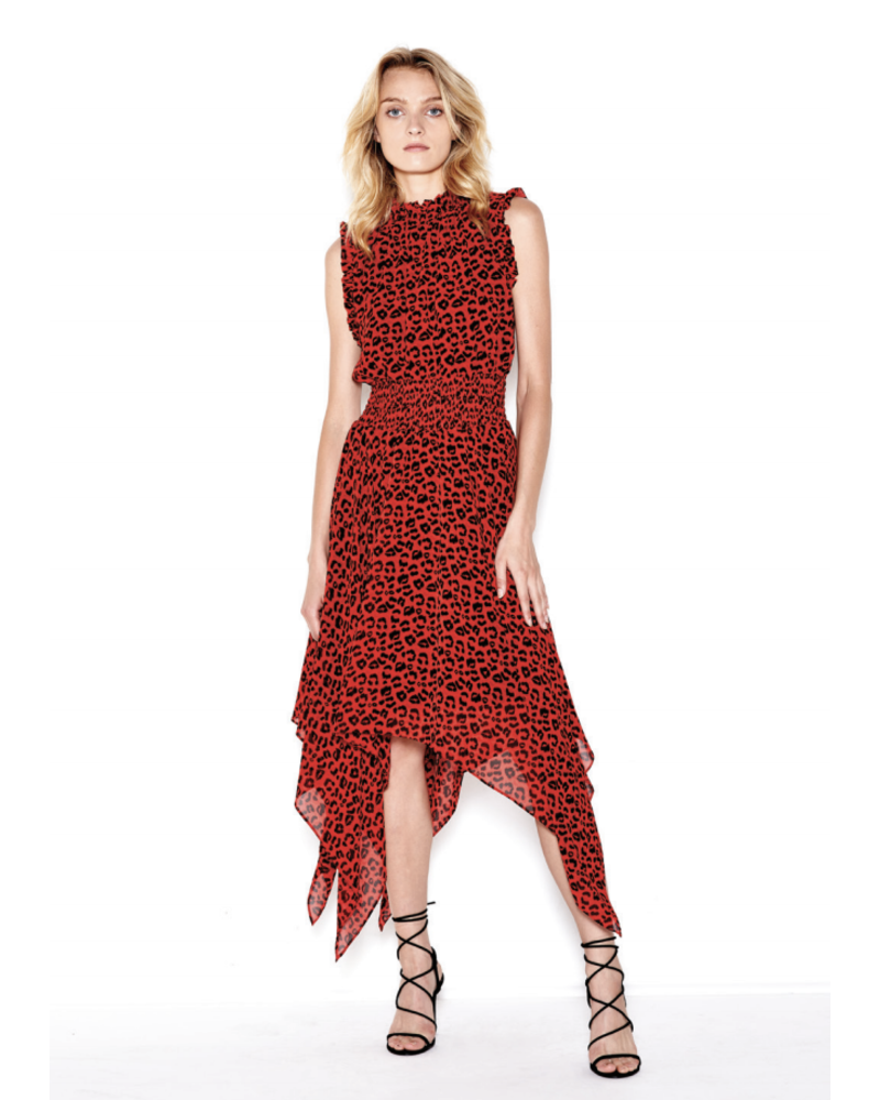 SEN Jael Ruffled Neck and Shoulders Dress Red/Black S20