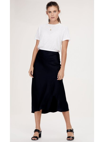 David Lerner Naomi Bias Midi Skirt Black Leopard S20
