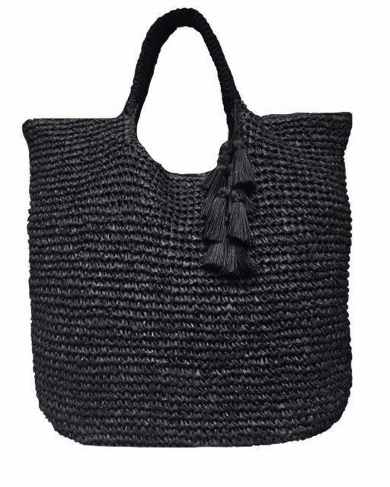 Mel Oversized Straw Tote Black