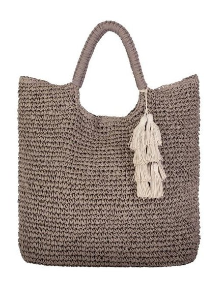 Mel Oversized Straw Tote Taupe
