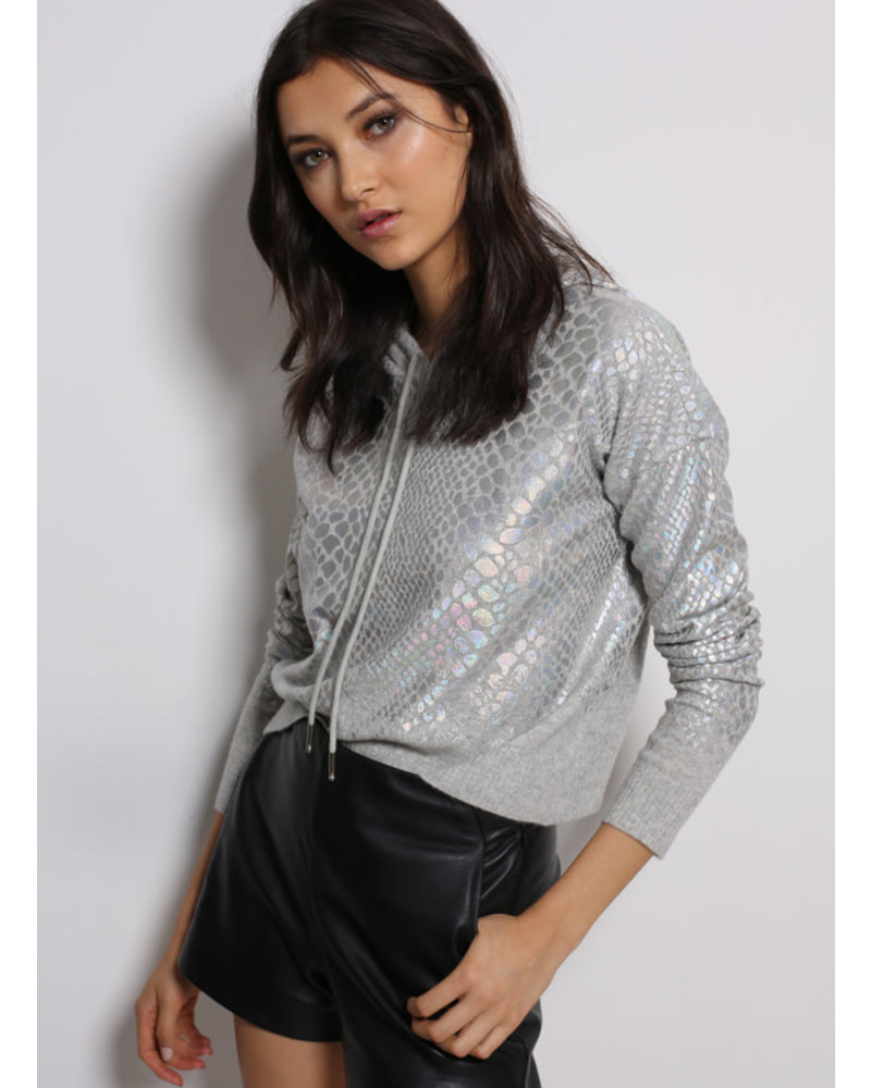 Threads of Privilege Cashmere Snake Foil Printed Cropped Hoodie Light Grey S20