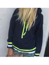 Brodie Bonnie Stripe Hoody Hello Sailor/Neon Yellow S20