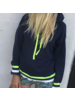 Brodie Bonnie Stripe Hoody Hello Sailor/Neon Yellow S20