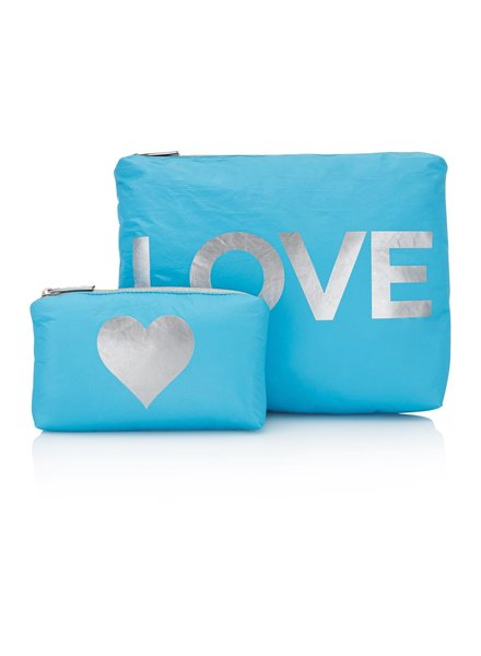 Hi Love Travel Sky Blue with Silver LOVE - 2 Set