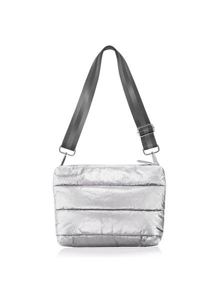 Hi Love Travel Puffer Purse Metallic Silver