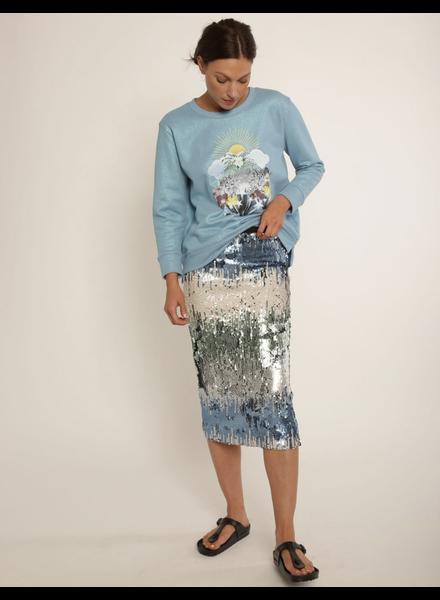 Le Superbe Liza Skirt Rattler Sequin Aqua S20