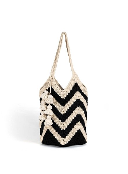 JADEtribe Maya Crochet Tote Black Wide Tassel