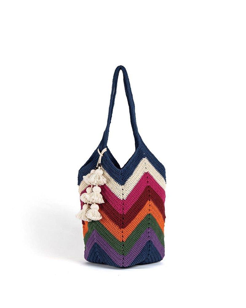 JADEtribe Maya Crochet Tote Multi Tassel
