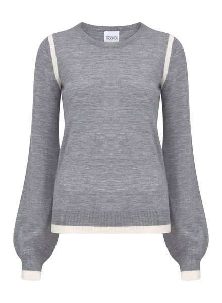 Madeleine Thompson Melba Jumper Grey with Cream S20