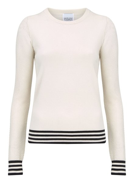 Madeleine Thompson Rome Jumper Cream with Blue Stripes S20