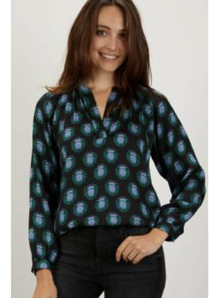 Tucker Long Sleeve Polo Blouse Twighlight Medallions S20